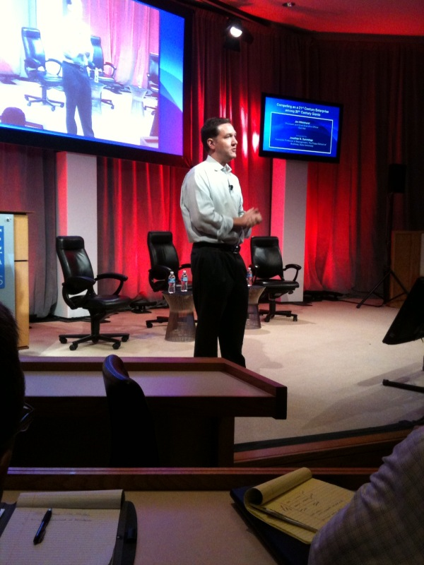 Jim Whitehurst on stage at the Coach K leadership conference (photo by Jonathan Opp)